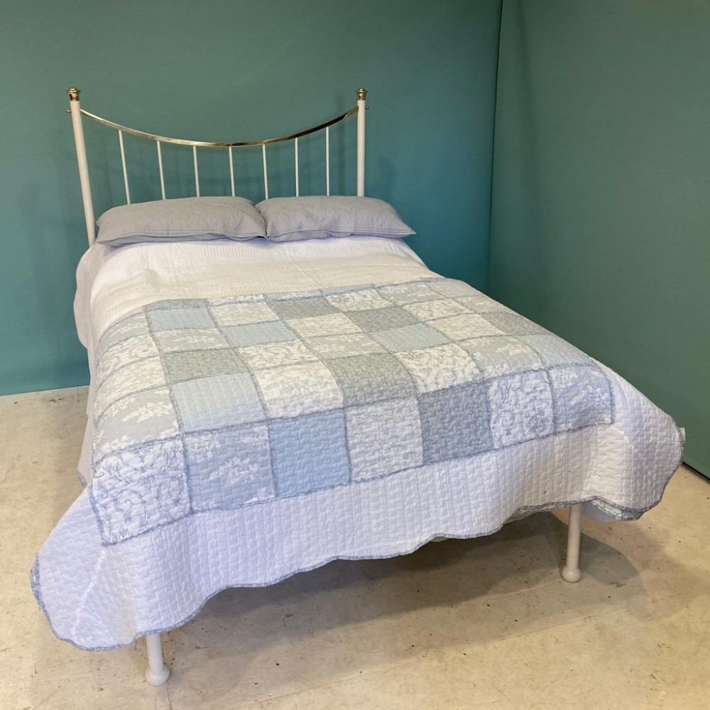 edwardian white brass and iron double bed