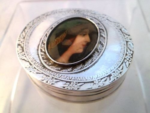 victorian solid silver and enamel snuff pill box london 1897 - photo angle #3