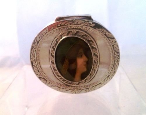 victorian solid silver and enamel snuff pill box london 1897 - photo angle #5