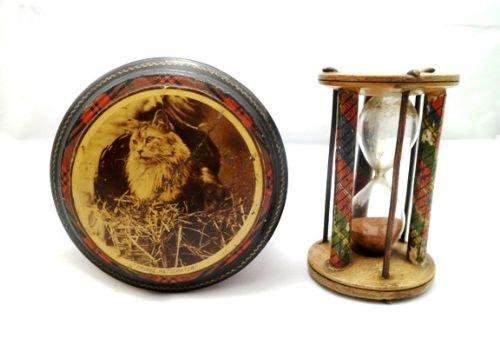 victorian mauchline 'clan stuart' tartan ware cylindrical box prince ratscratch and egg timer