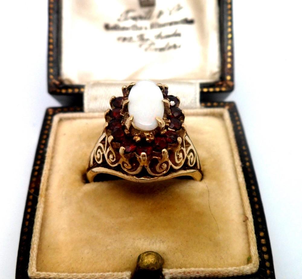 Quality antique edwardian 9ct gold garnet opal signet for Sell jewelry birmingham al