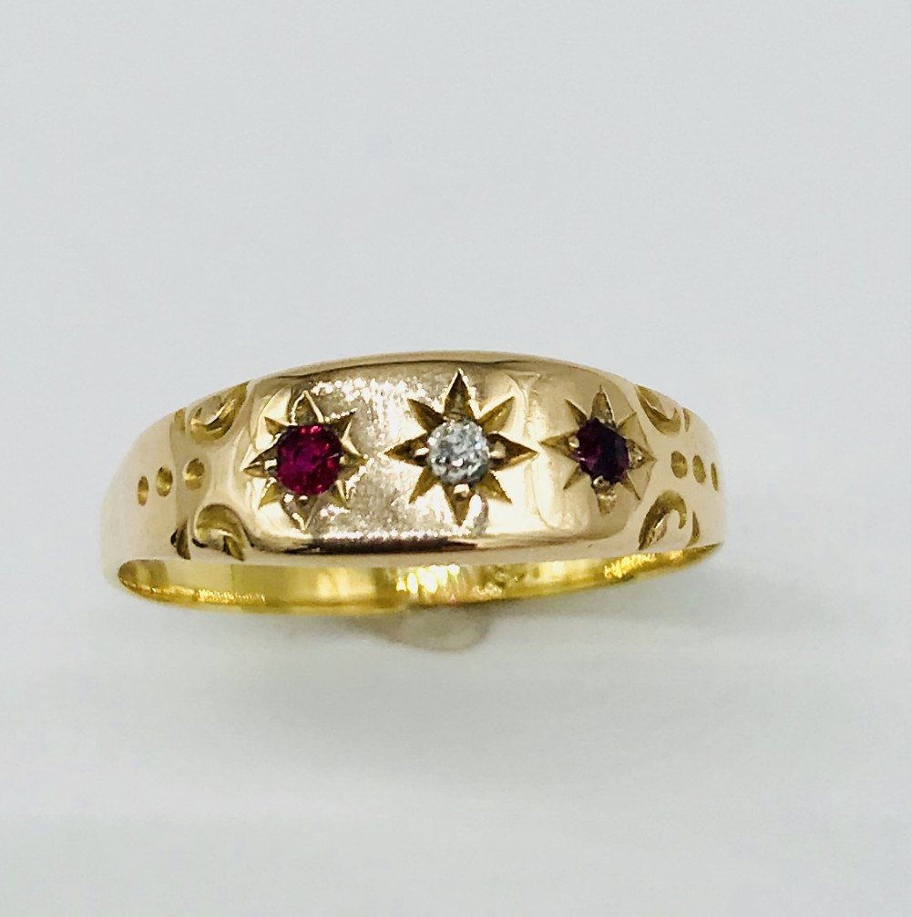 late victorian 18ct gold diamond ruby ring c1890