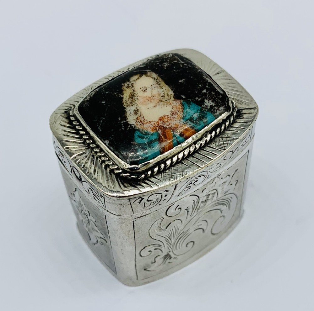 mid 19th century dutch solid silver and enamel spice box 1851