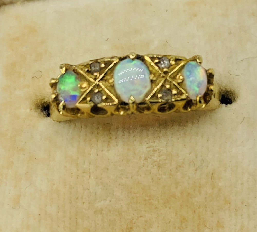 early edwardian 18ct gold opal ring hallmarked birmingham 1901 in harrods ring box
