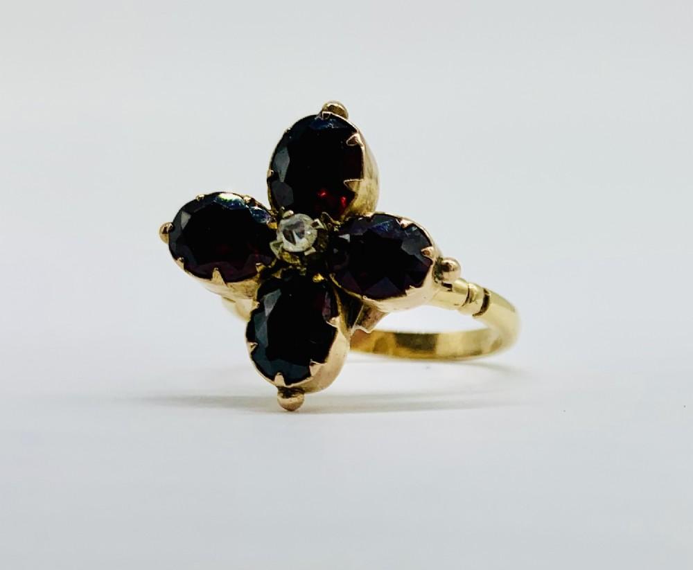 rare georgian 18ct gold garnet diamond ring c 1820
