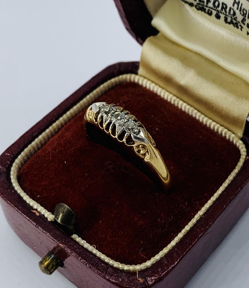 late victorian 18ct gold three stone diamond ring wc co