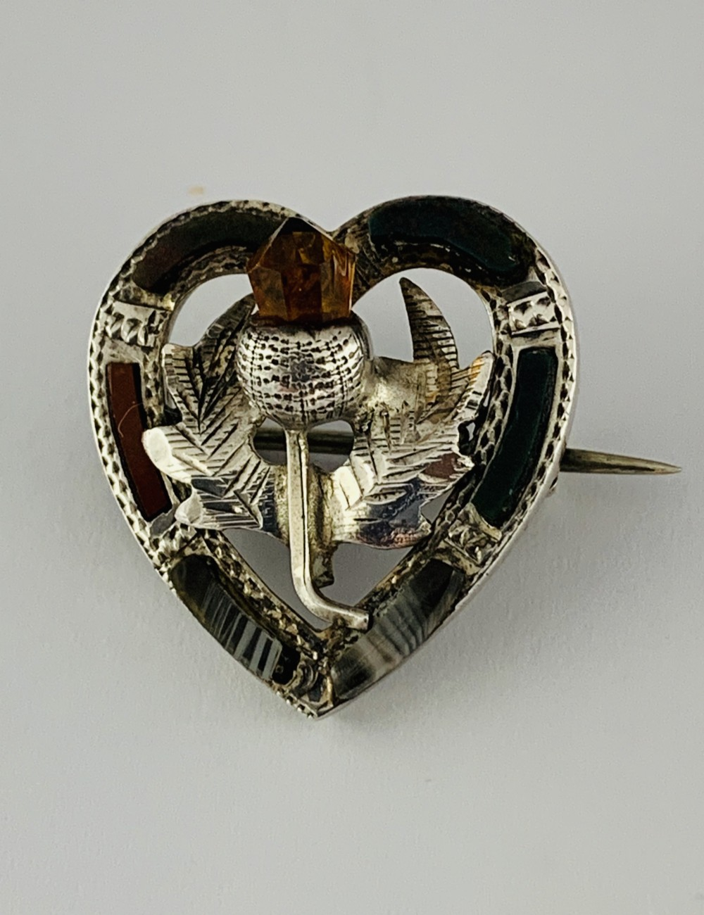 quality sterling silver edwardian scottish agate and amber heart shaped brooch
