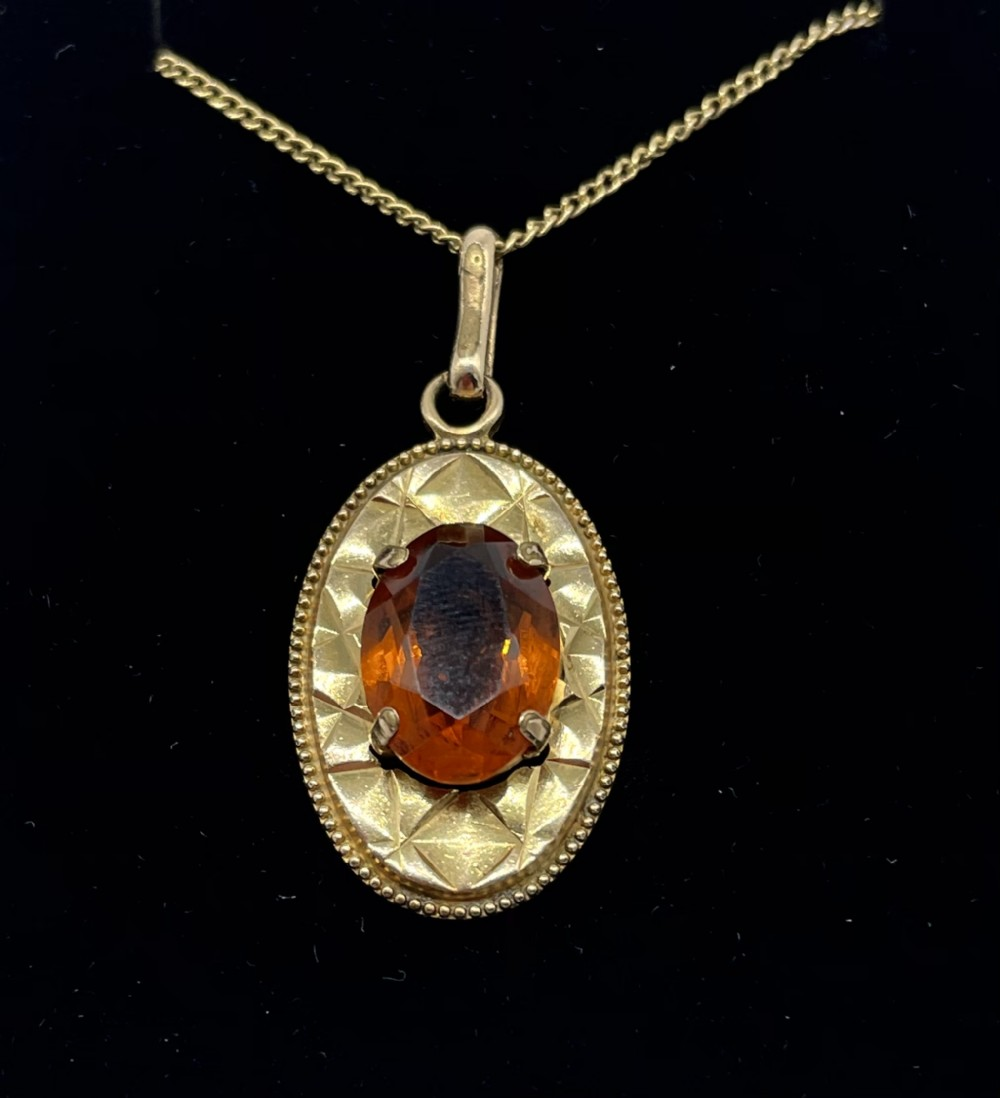 stunning french gold mounted citrine pendant c1930