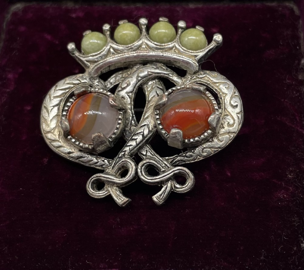 stunning traditional scottish silver agate luckenbooth brooch 1930