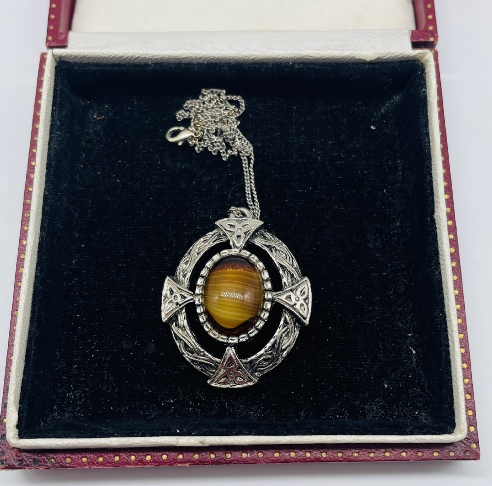 early 20th century scottish silver agate pendant c1930