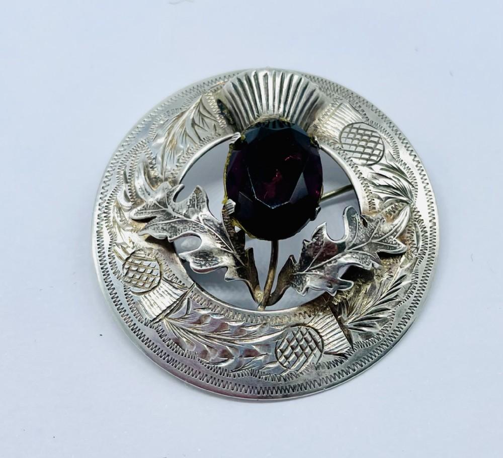 large scottish silver amethyst brooch glasgow 1948