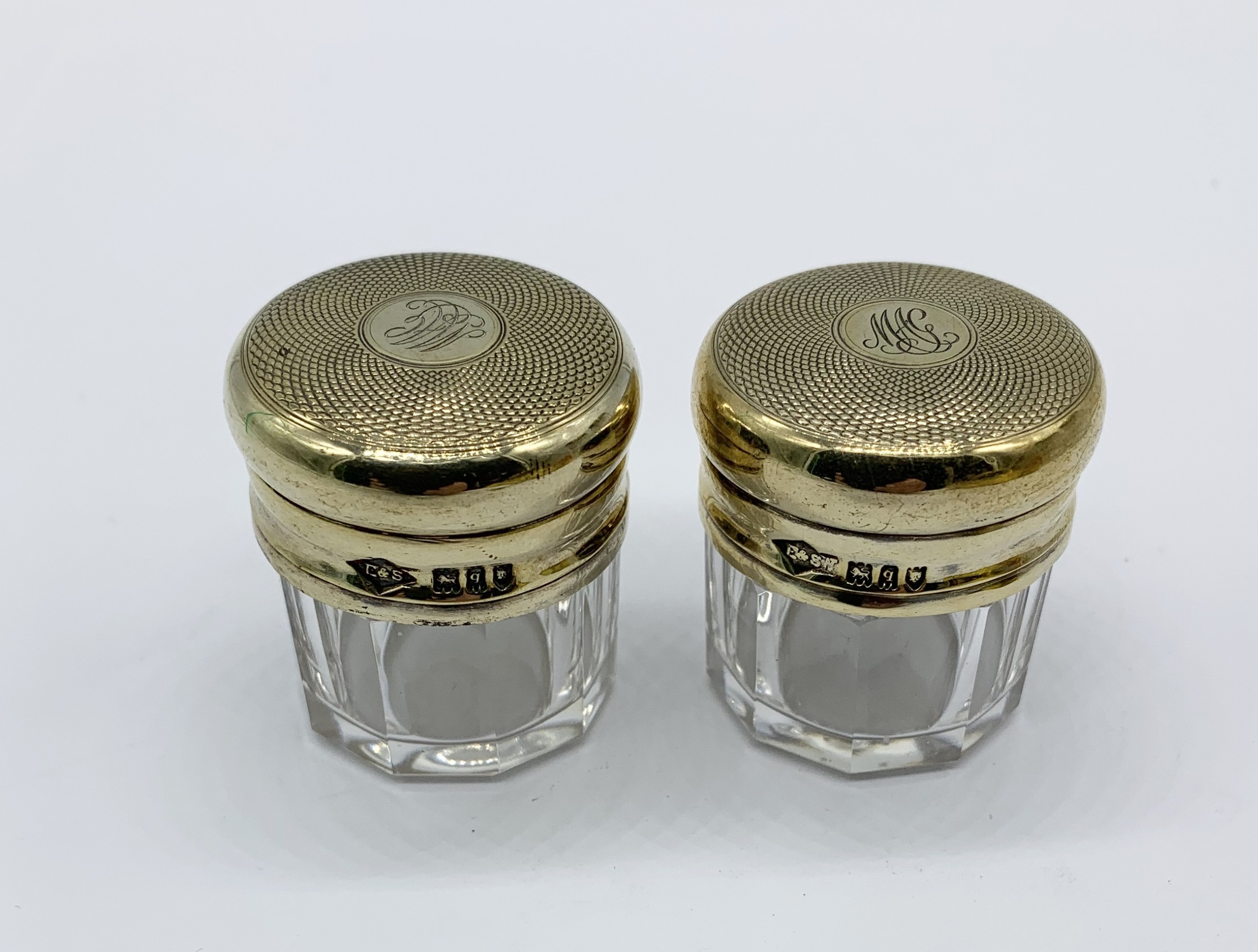 delightful pair of victorian solid silver gilt topped pill jars