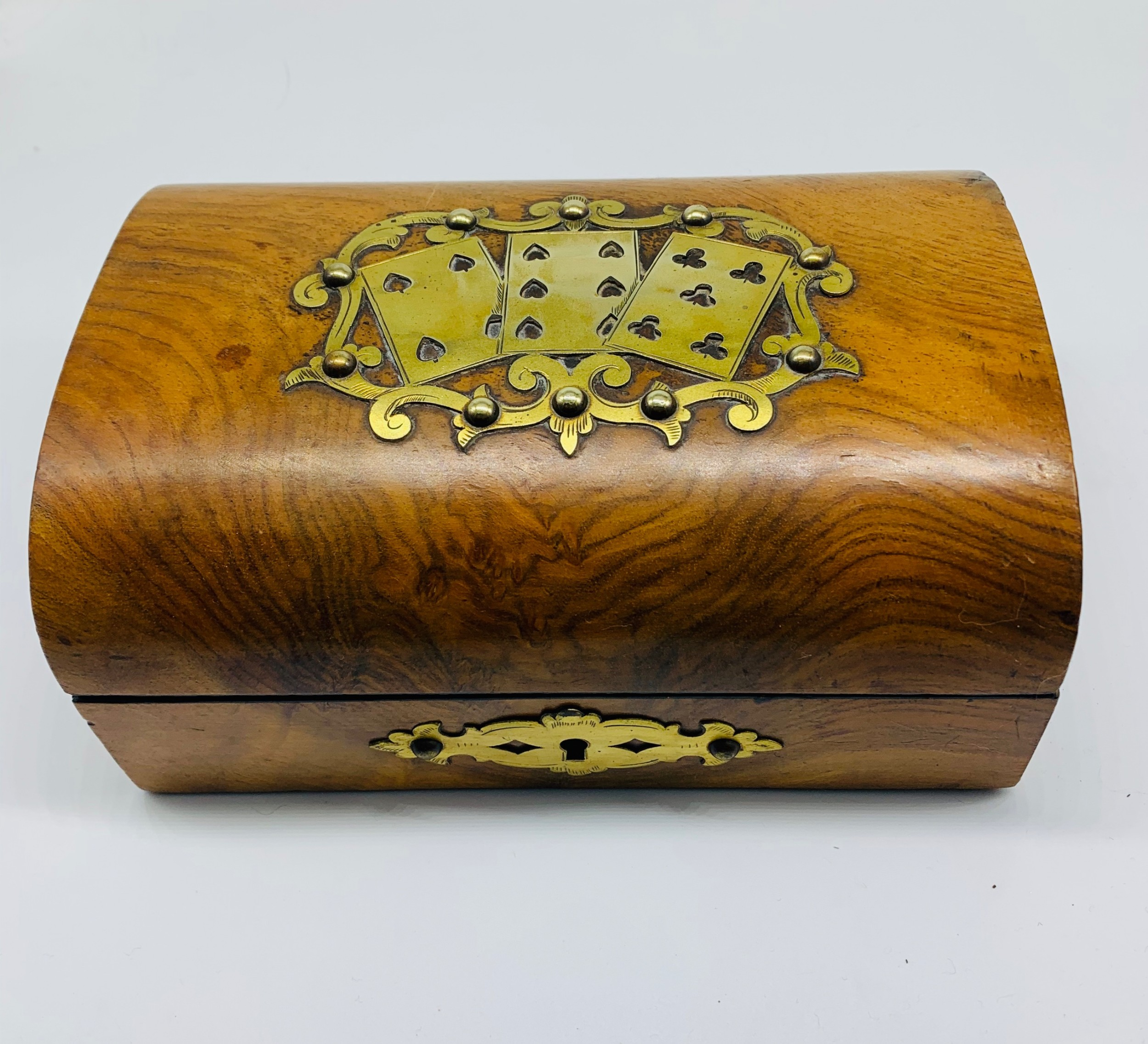 mid 19th century walnut and brass playing card games box c1860 includes cards and games