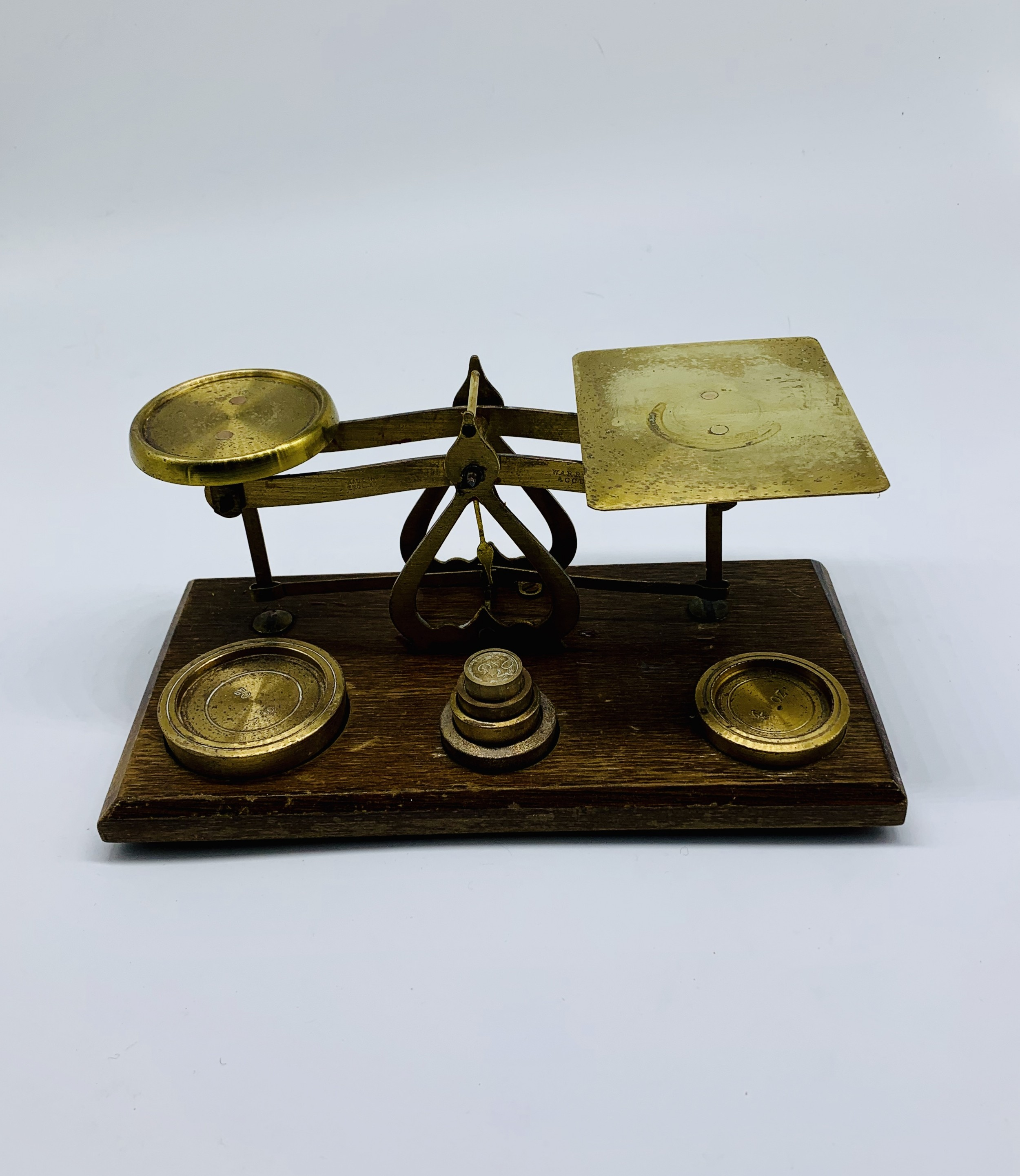 victorian brass postal scales with complete weights c1880