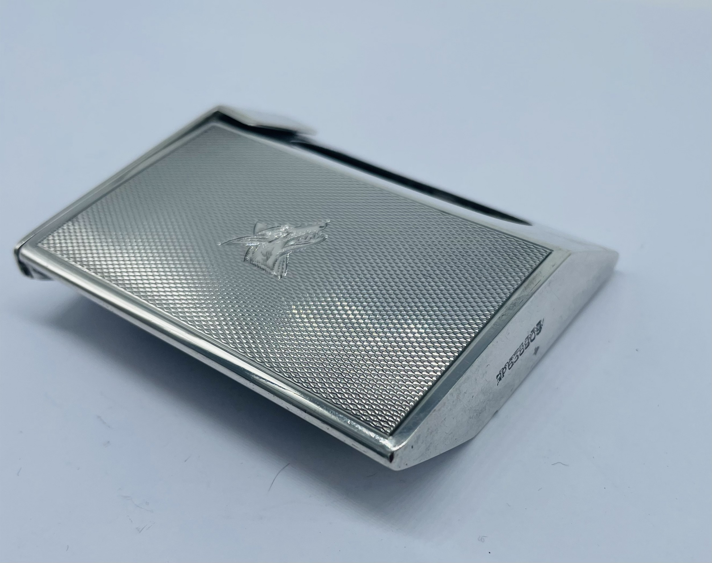 solid silver match box holder london 1933