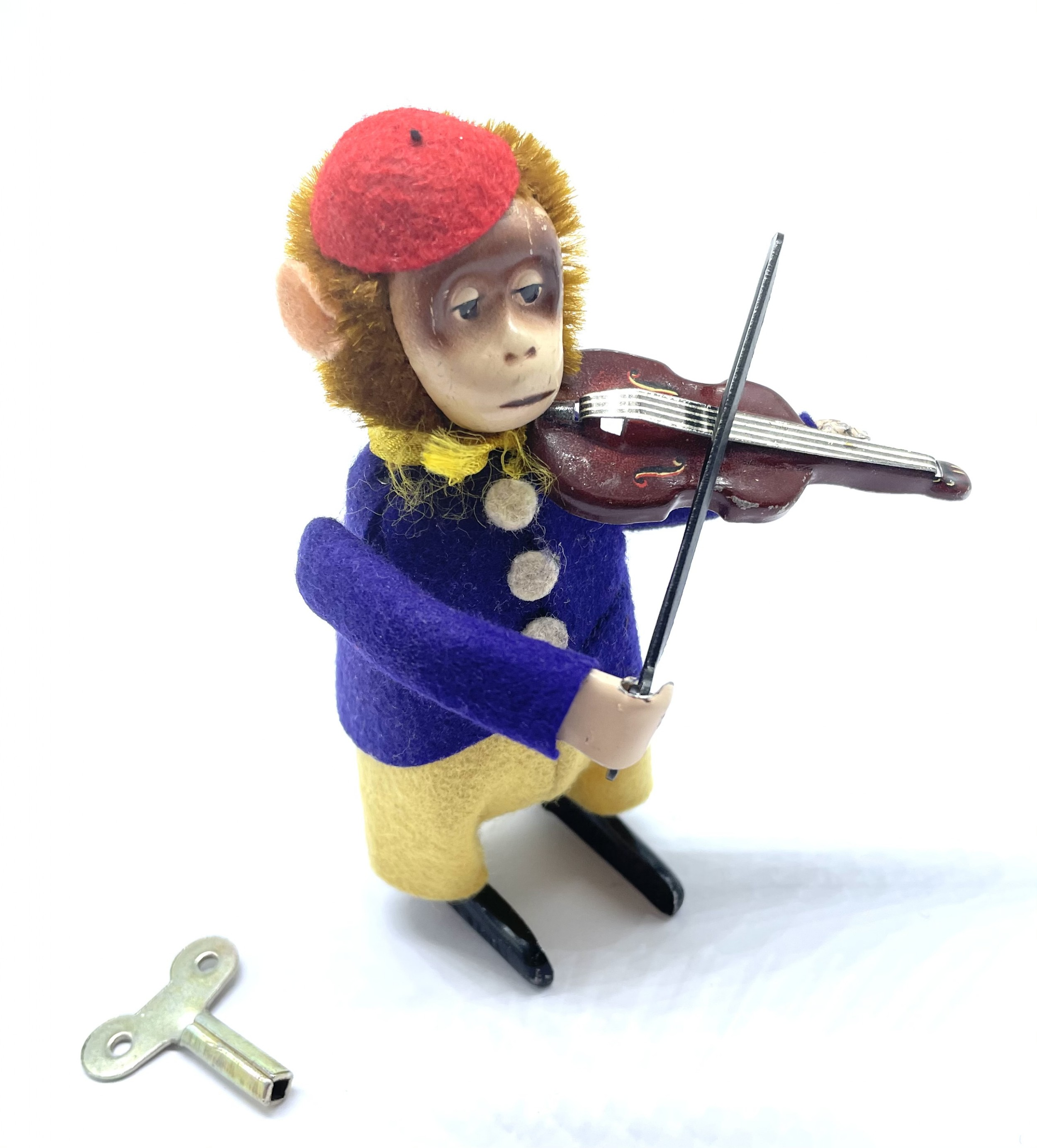 superb antique clockwork monkey playing the violin original c1920