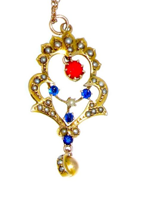 a victorian ruby and sapphire pendant