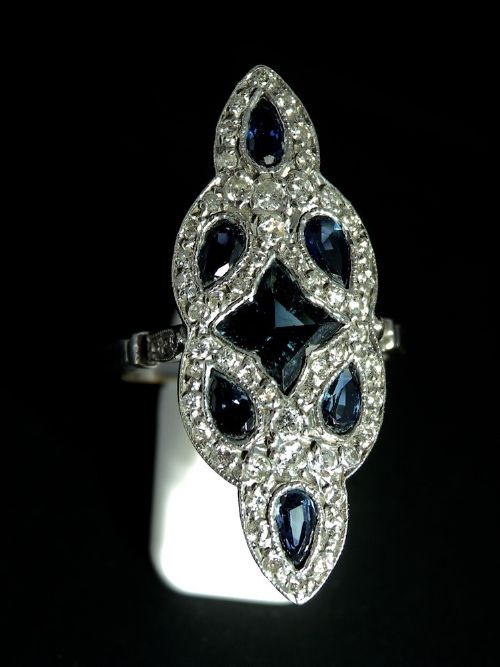 a platinum art deco sapphire and diamond ringreduced