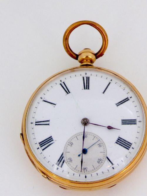 a 14 carat gold open faced victorian keyword pocket watch