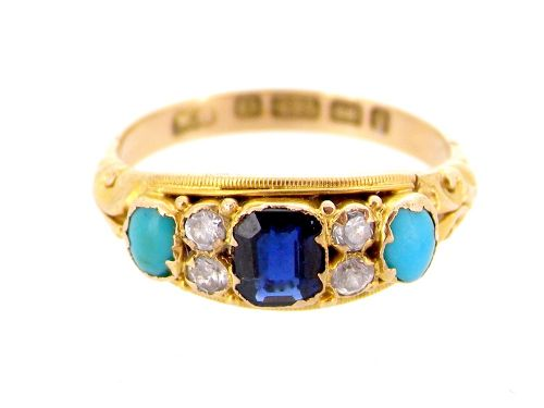 a sapphire diamond and turquoise victorian ring