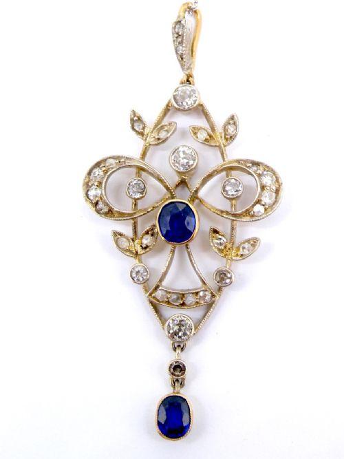 an edwardian sapphire and diamond pendant