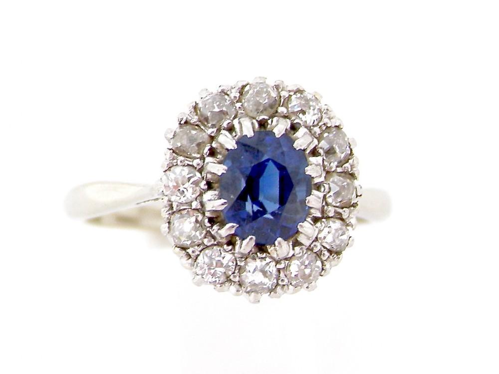 a fine cornflower blue sapphire diamond cluster gem ring
