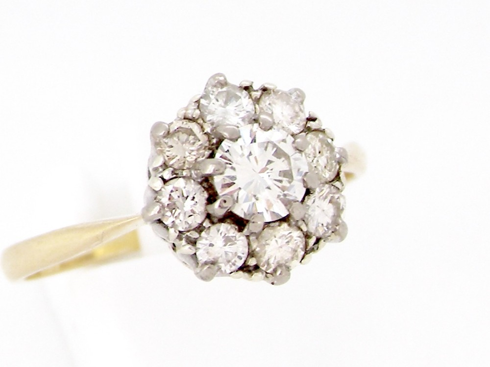 a traditional diamond cluster gem ring