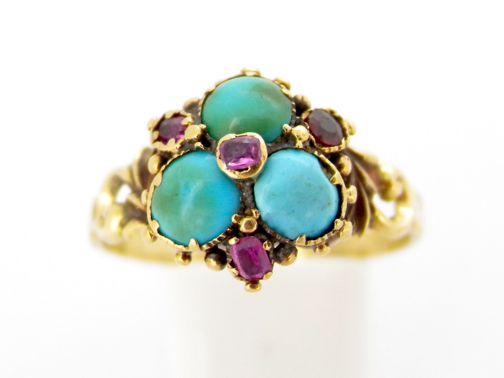 an early victorian turquoise and ruby dress ring
