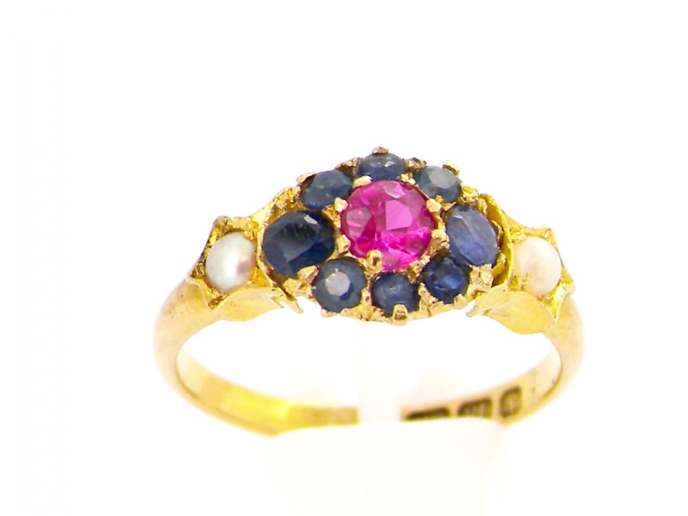an antique ruby sapphire and pearl dress ring
