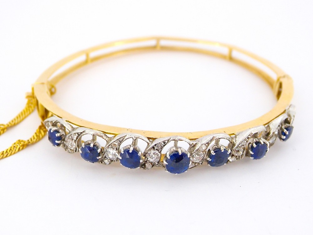 a fine sapphire and diamond victorian bangle