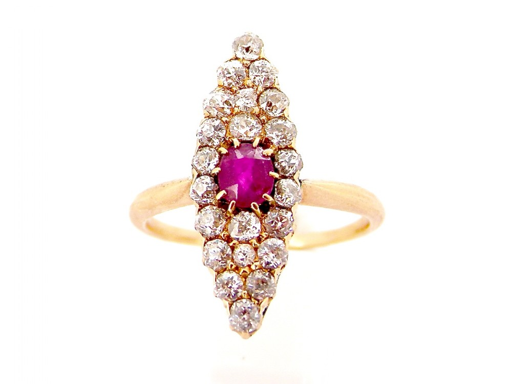 an antique marquise shaped ruby and diamond ring