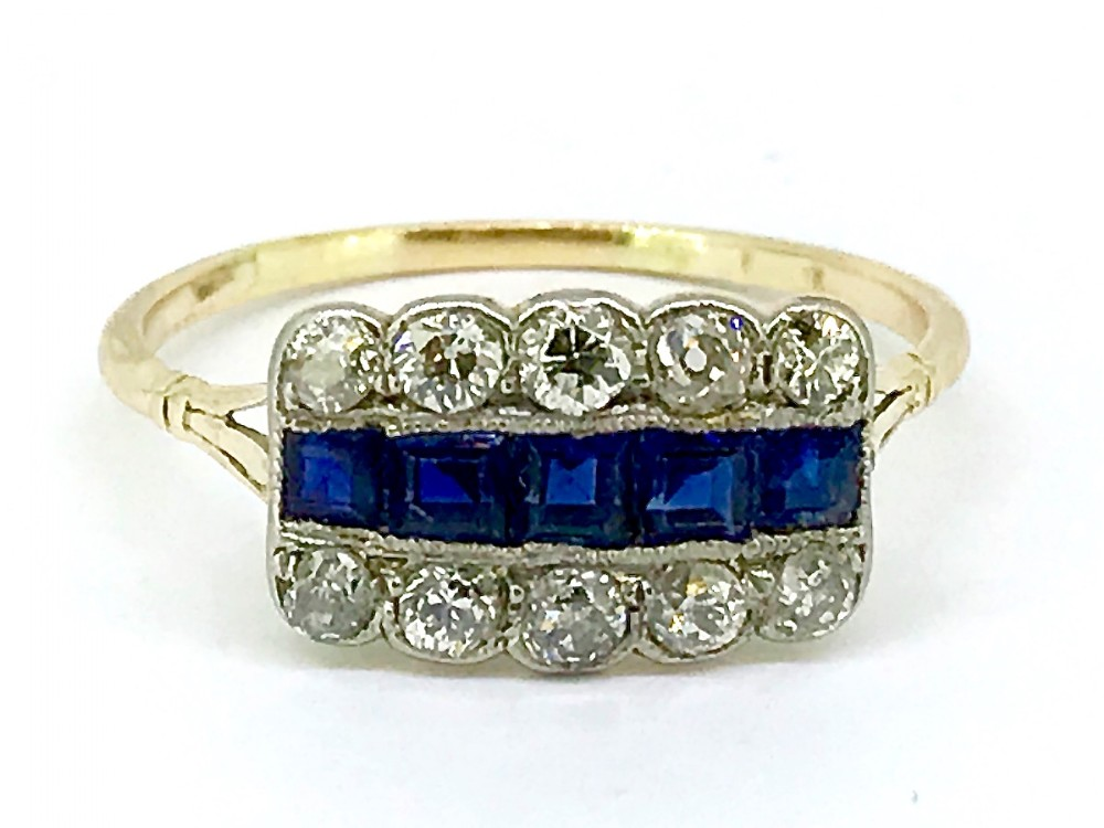 a fine art deco sapphire and diamond ring