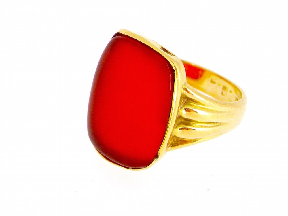 an 18 carat gold cornelian signet ring