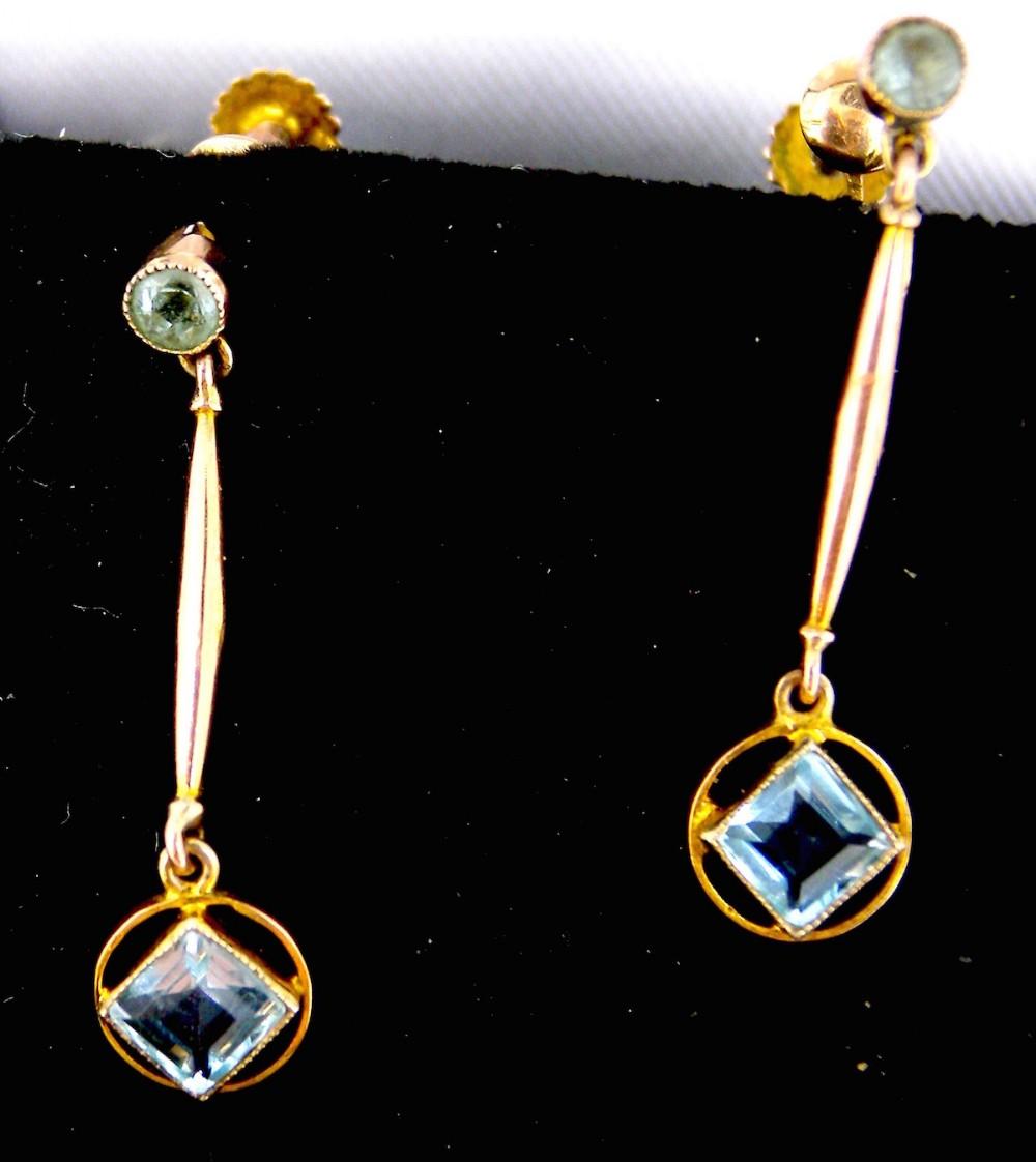 a pair of vintage aquamarine drop earrings