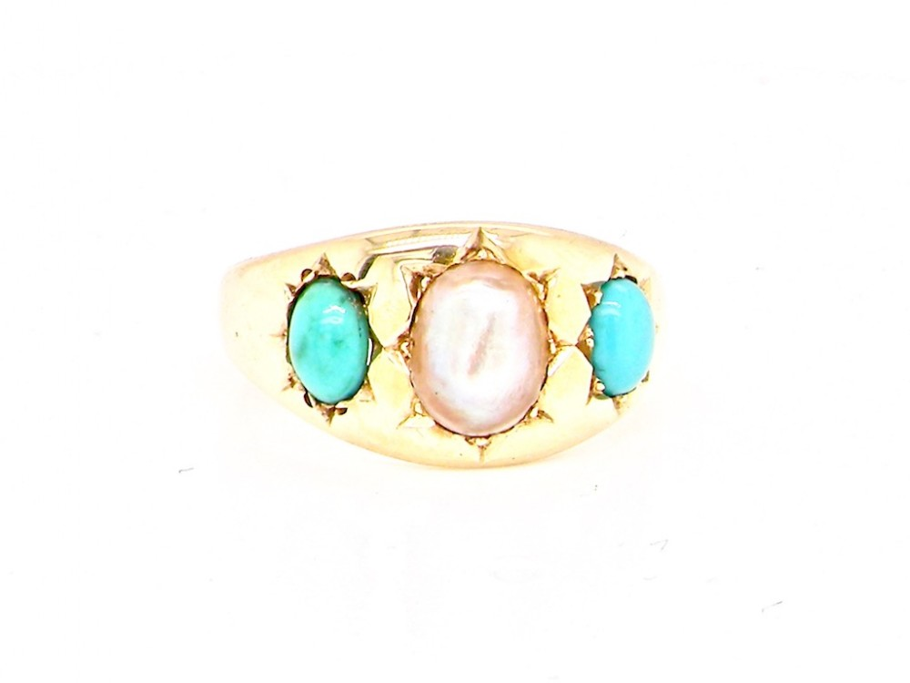 a victorian turquoise and pearl ring