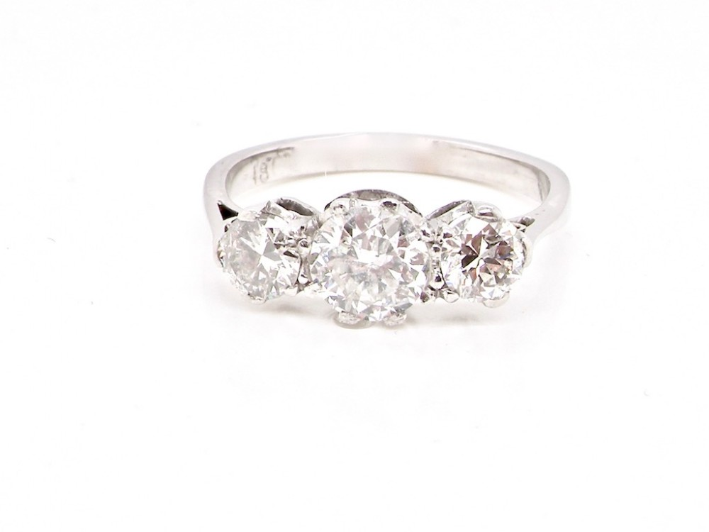 a fine 1930s diamond three stone ring