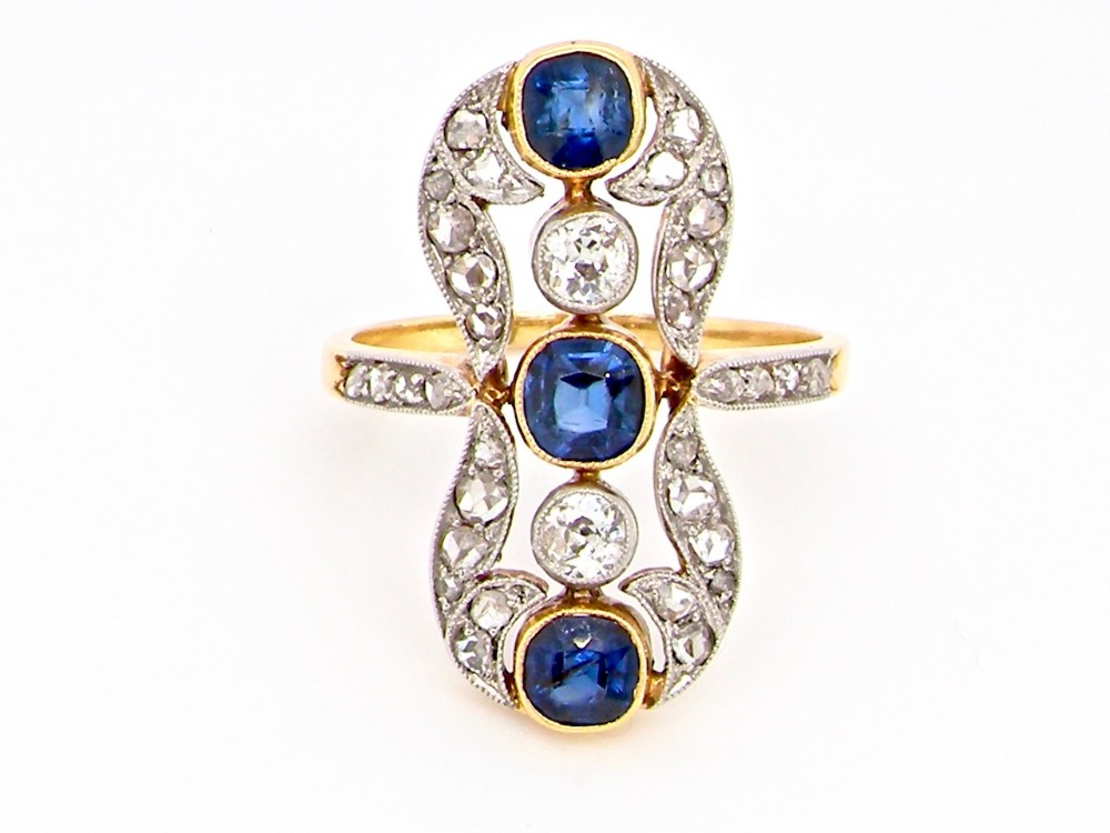 a fabulous belle poque period sapphire and diamond ring