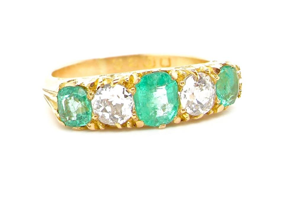 a fine victorian emerald and diamond ring