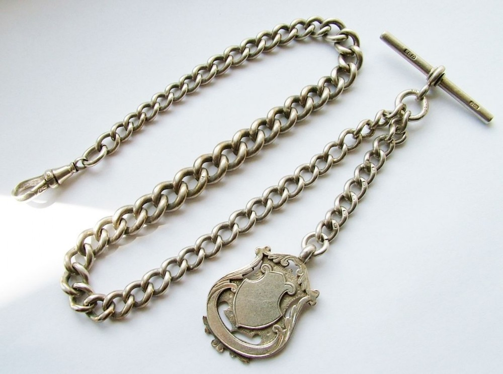 vintage silver watch chain