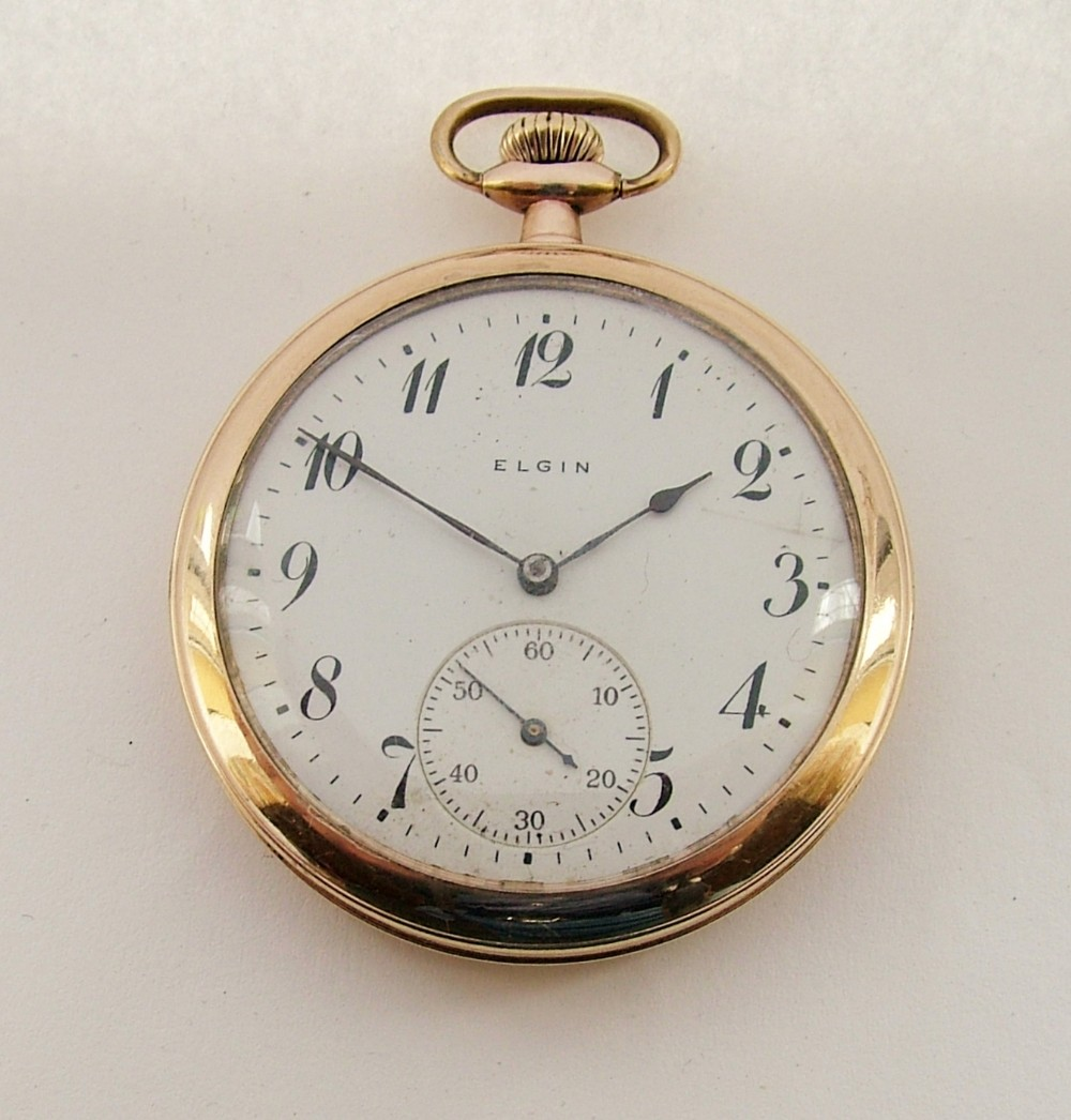 antique 1915 elgin gold plated pocket watch