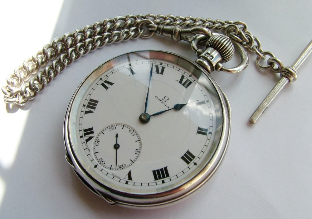 antique 1920s silver omega pocket chain 284774