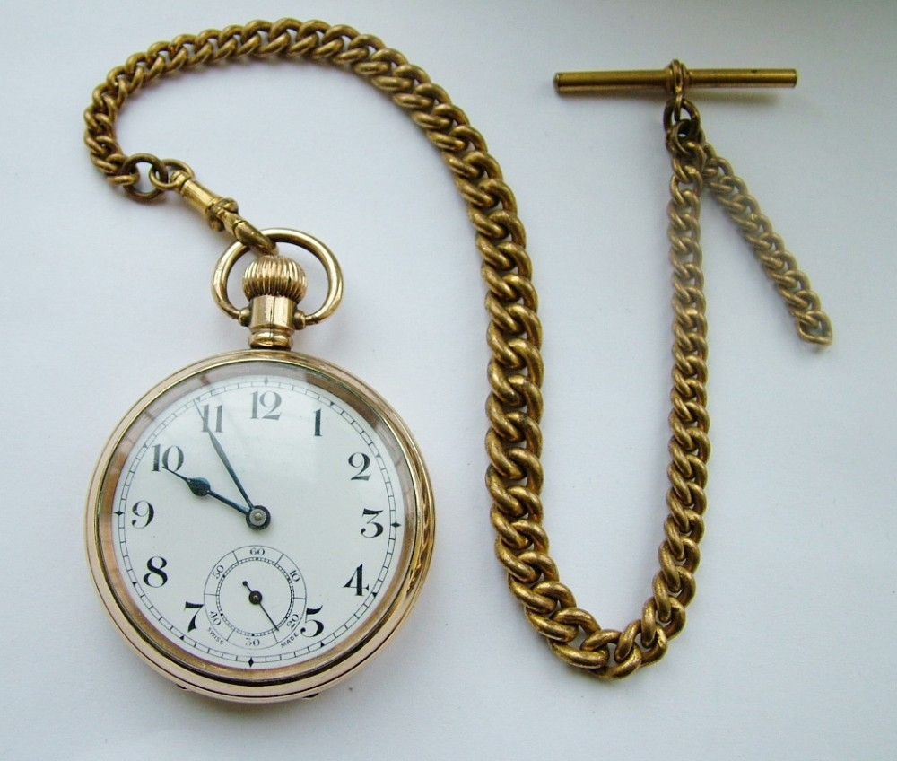 Vintage 1920s Swiss Pocket Watch & Chain | 304086 ...