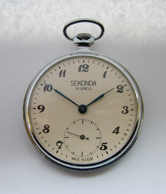 vintage 1960s sekonda stem winding pocket 308256