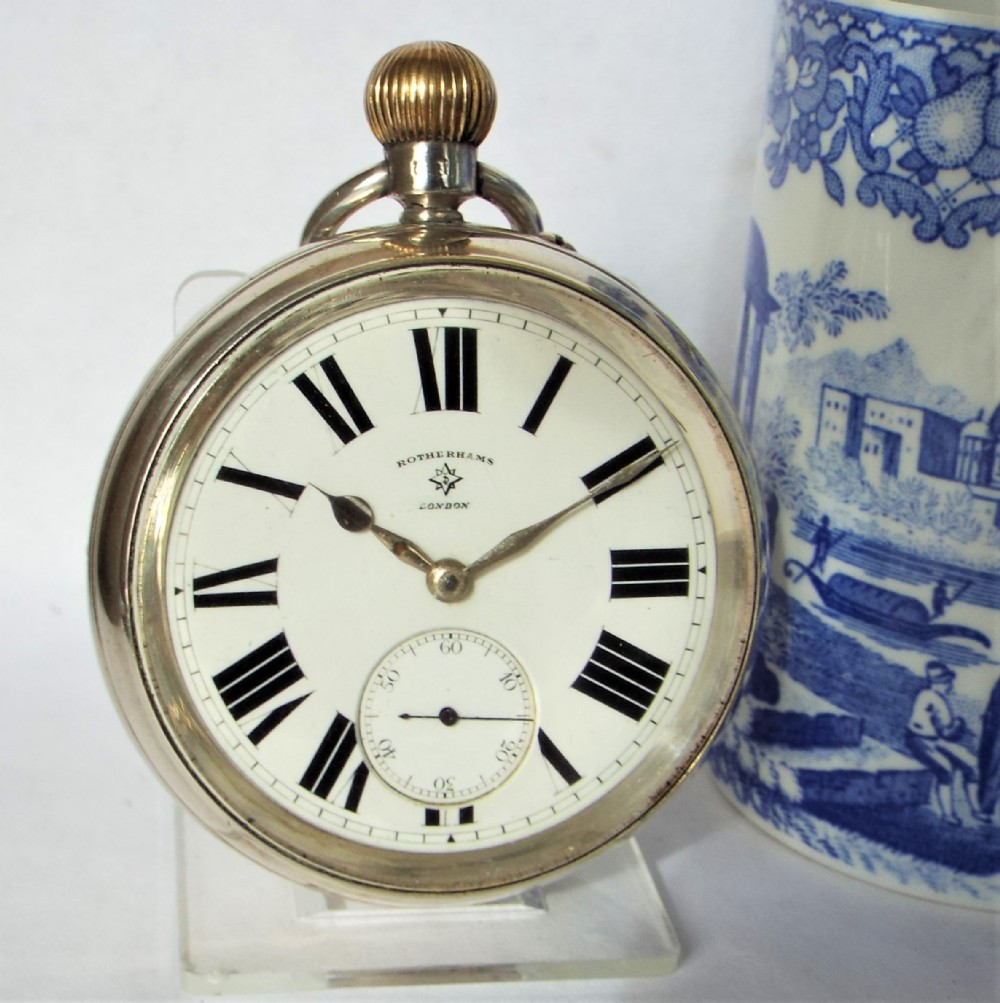 large antique silver rotherhams pocket watch 1914