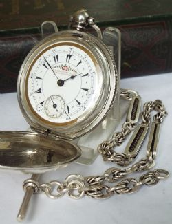 Antique 1920s Silver Omega Pocket Watch Amp Chain 284774