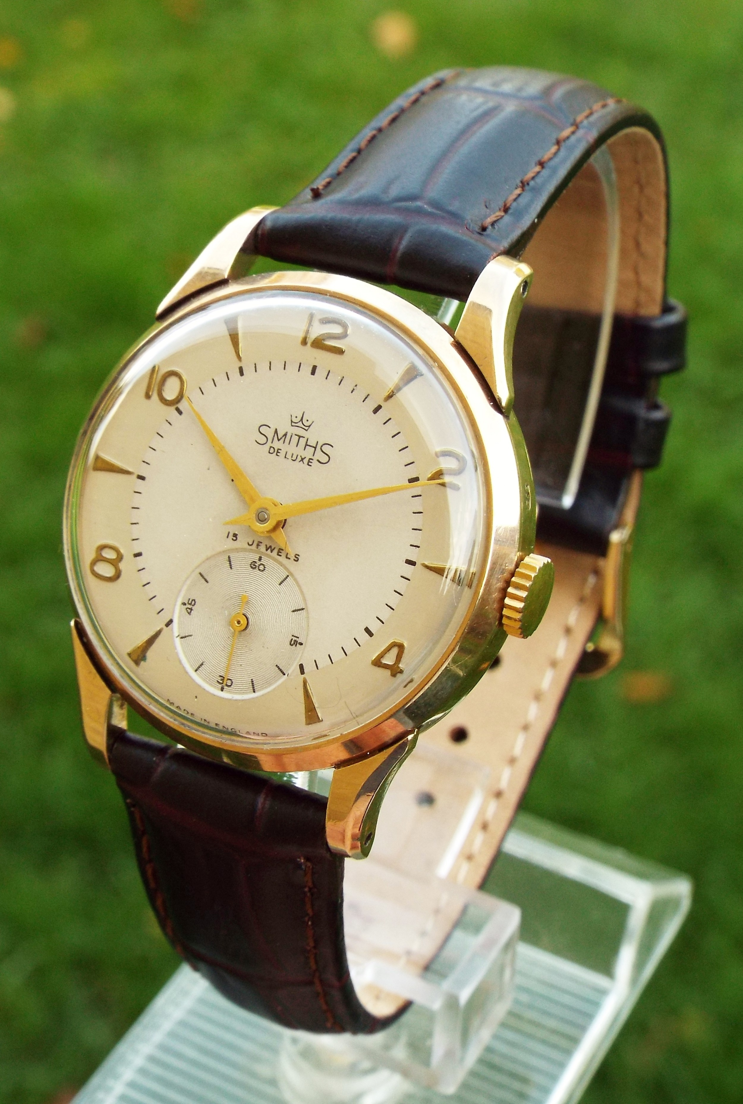 gents 9ct gold smiths de luxe wristwatch 1955