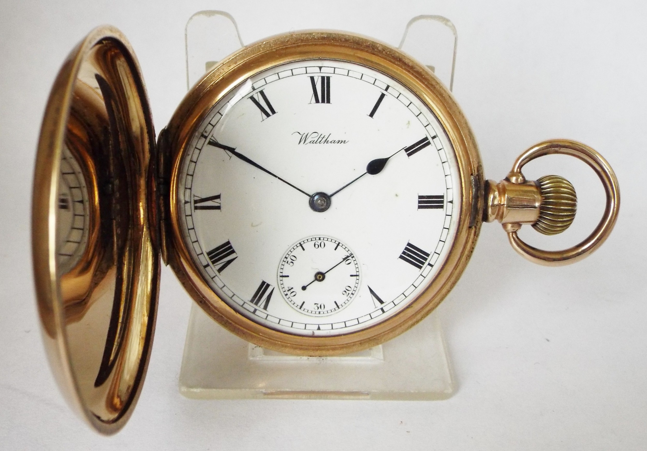 antique 1910 waltham traveler full hunter pocket watch