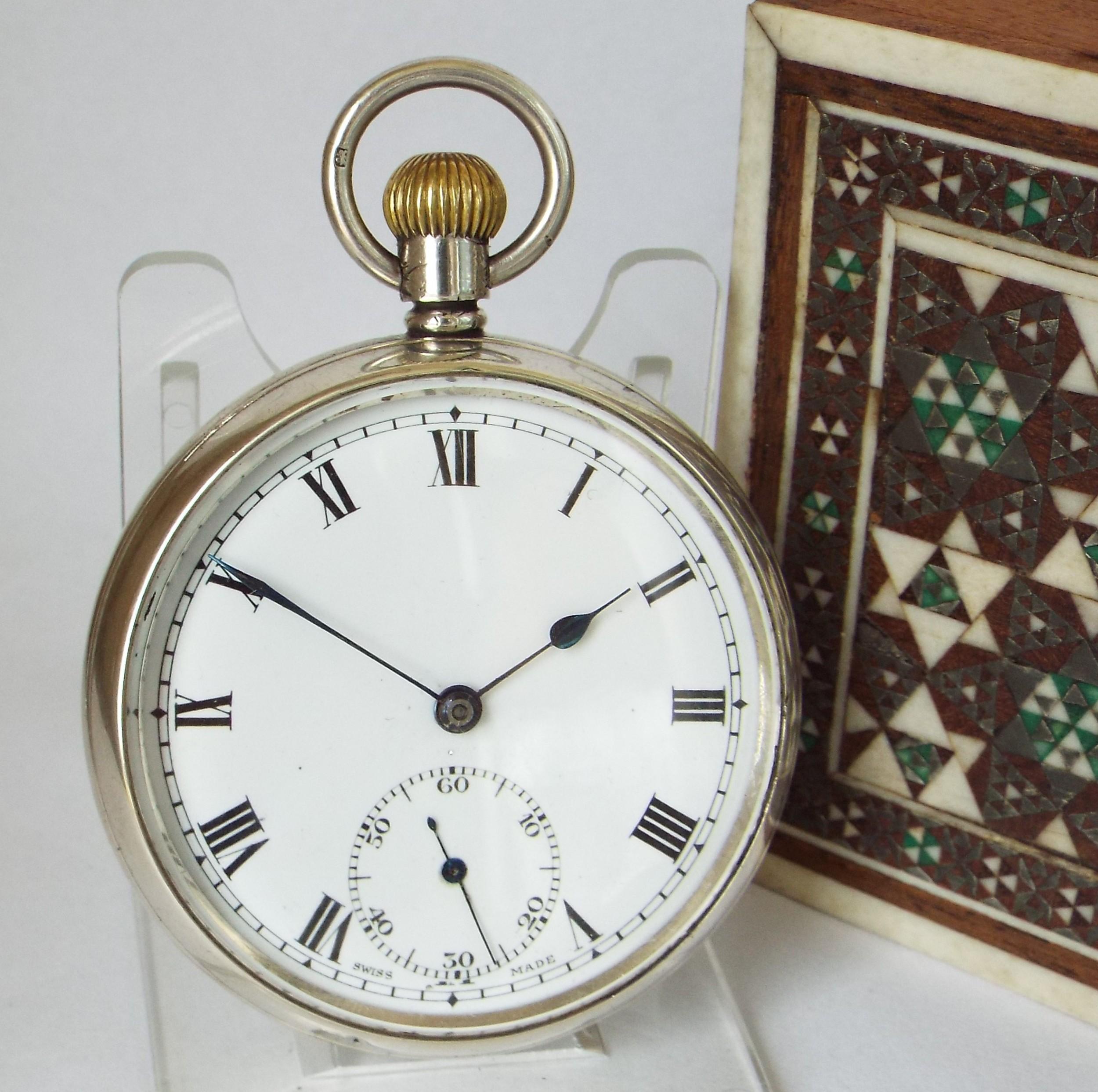 vintage 1937 swiss silver pocket watch