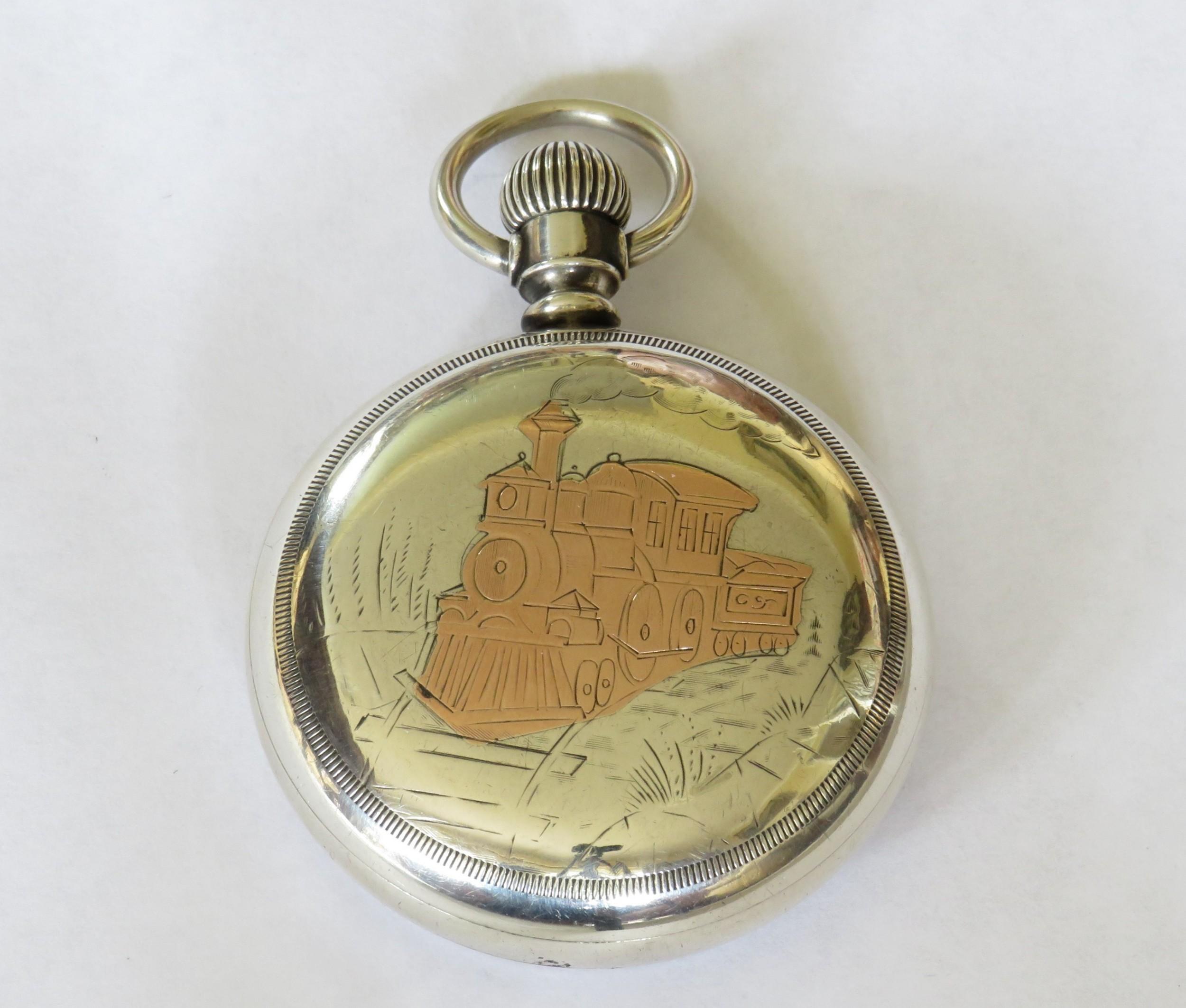 antique silver elgin steam locomotive pocket watch