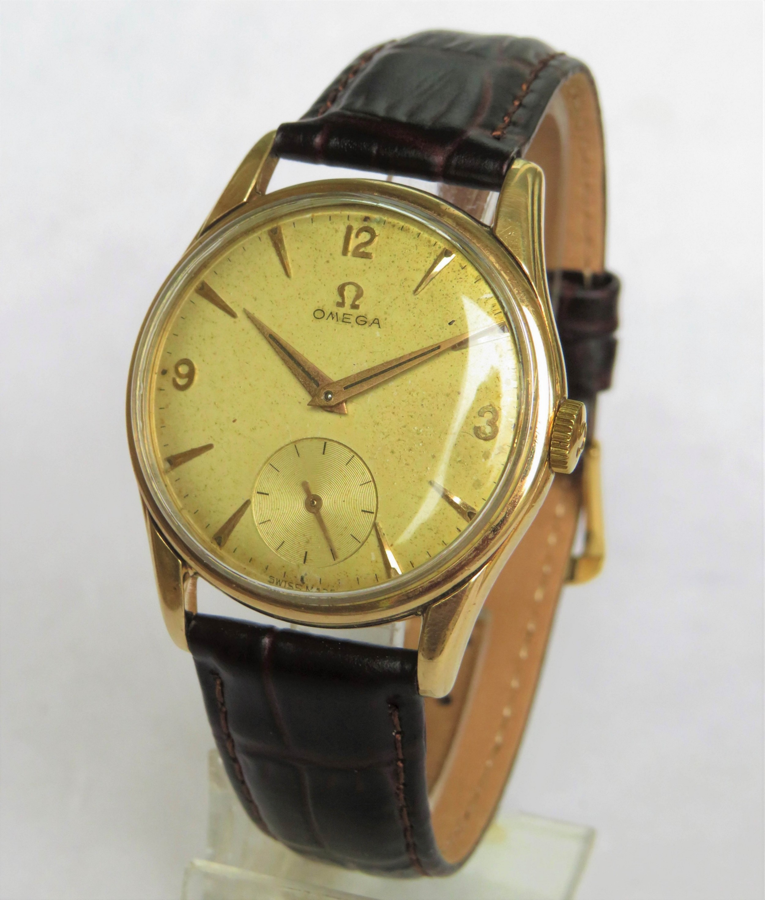 gents 9ct gold omega wrist watch 1958